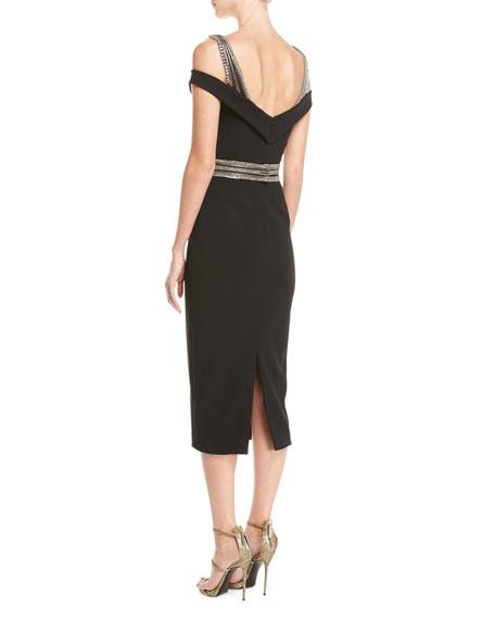 Embellished Cold-Shoulder Cocktail Dress