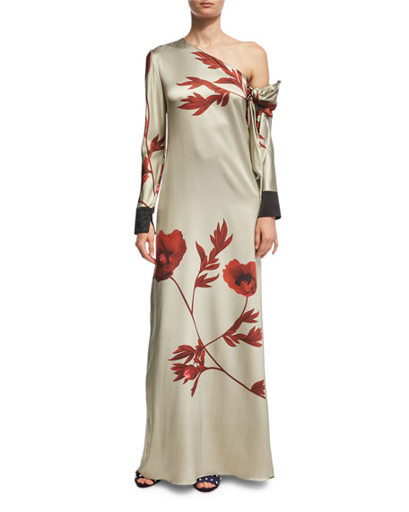 La Gitanilla Floral Silk Satin One-Shoulder Gown