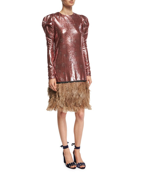 Johanna Ortiz Aurora Sequined Puff-Shoulder Dress with Feather