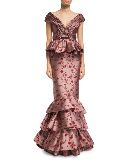 Tiana Floral Jacquard Off-the-Shoulder Gown, Red