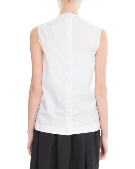 Ruffled Sleeveless Cotton Blouse