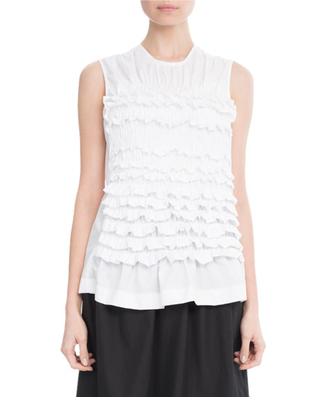 Ruffled Sleeveless Cotton Blouse, White