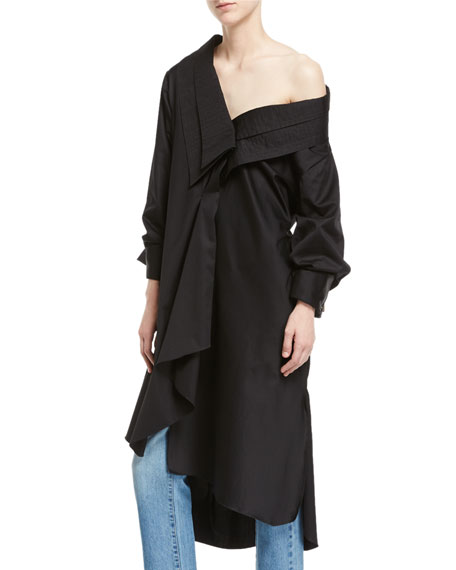 Ringo One-Shoulder Poplin Tunic
