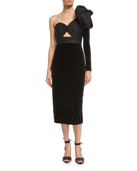 Johanna Ortiz Malaguena One-Shoulder Velvet Sheath Dress and