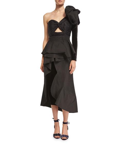 Talisman Peplum Silk Midi Skirt