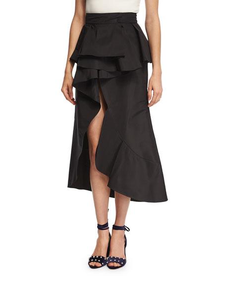 Johanna Ortiz Talisman Peplum Silk Midi Skirt