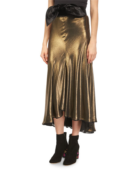 Johanna Ortiz Rolling Metallic Foil Mock-Neck Blouse and