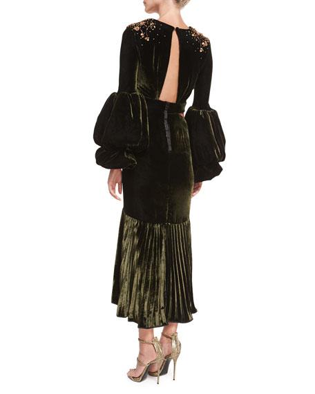 Analetta Beaded Velvet Midi Dress