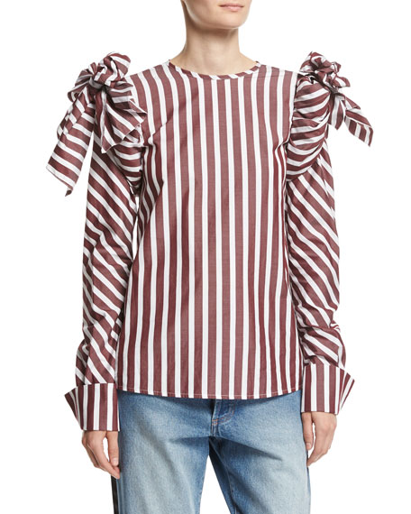 Johanna Ortiz Clementina Tie-Shoulder Striped Poplin Blouse