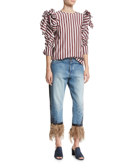 Petra Feather-Hem Cropped Boyfriend Jeans