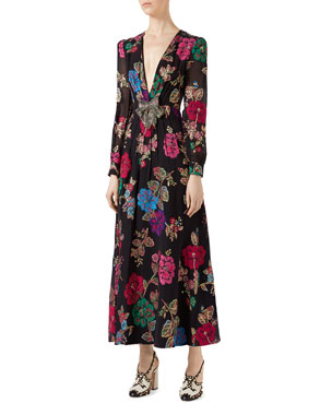 Gucci Flower Garden Fil Coupe Gown