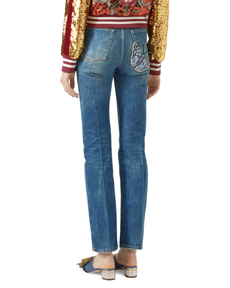 Denim Pants with Butterfly Applique