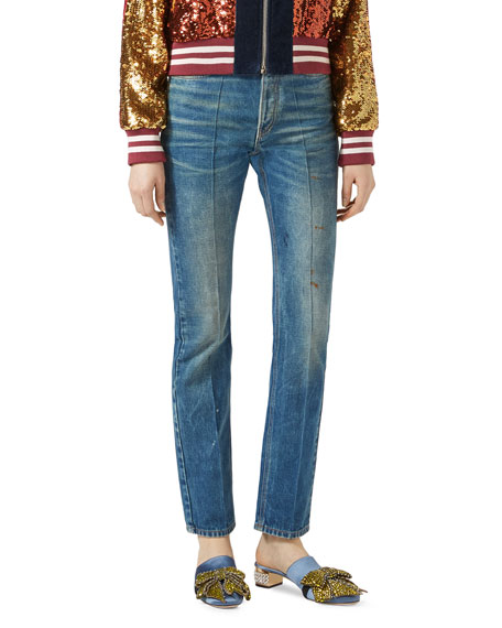 Gucci Denim Pants with Butterfly Applique