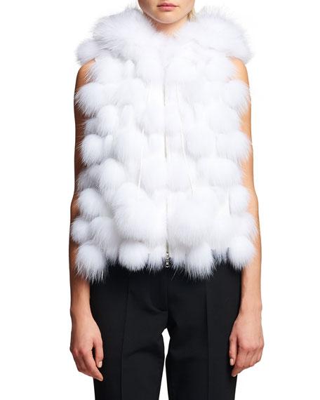 Oscar de la Renta Fox Fur Hooded Zip-Front