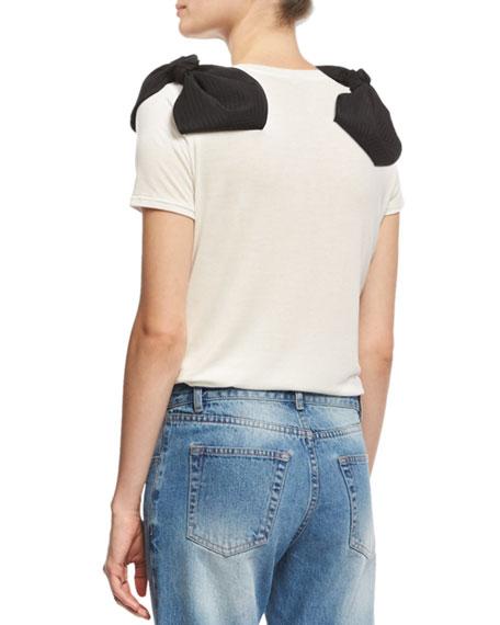 Sisterhood Bow-Shoulder T-Shirt