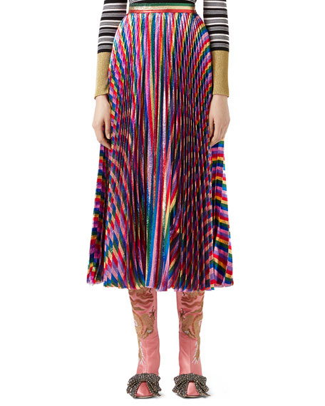 Metallic Pleated Skirt, Multicolor