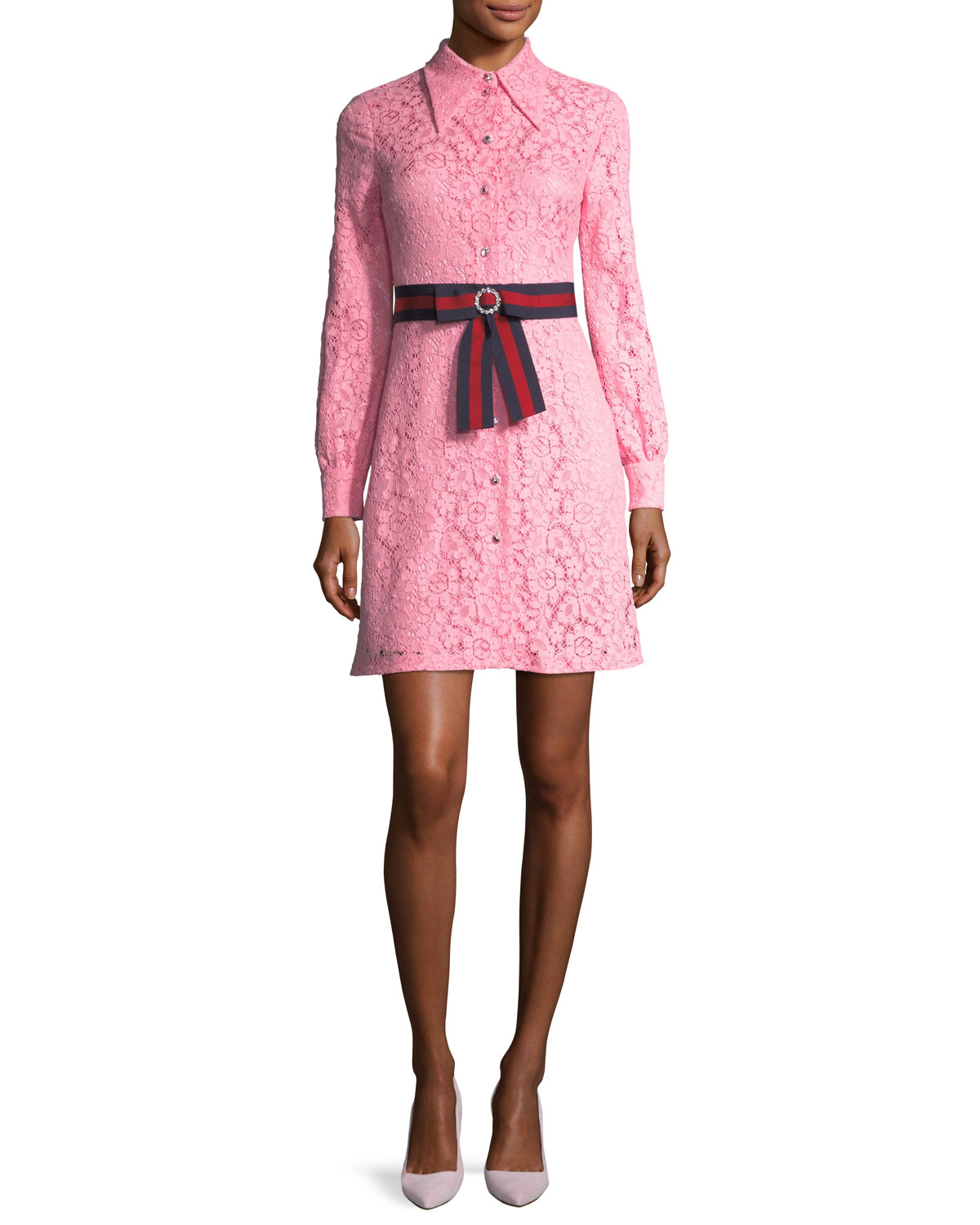 05a389368 Gucci Cluny Lace Dress with Web Waistband, Pink | Neiman Marcus