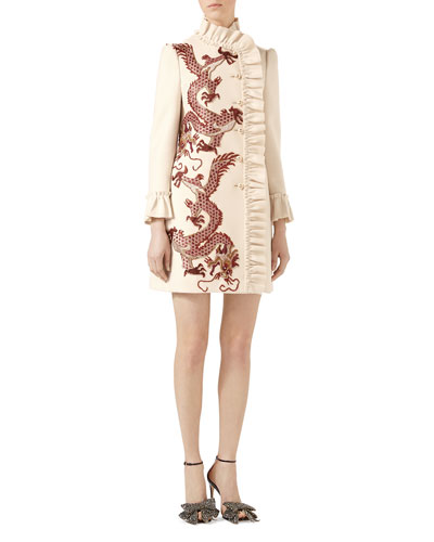 Dragon Embroidered Wool Coat
