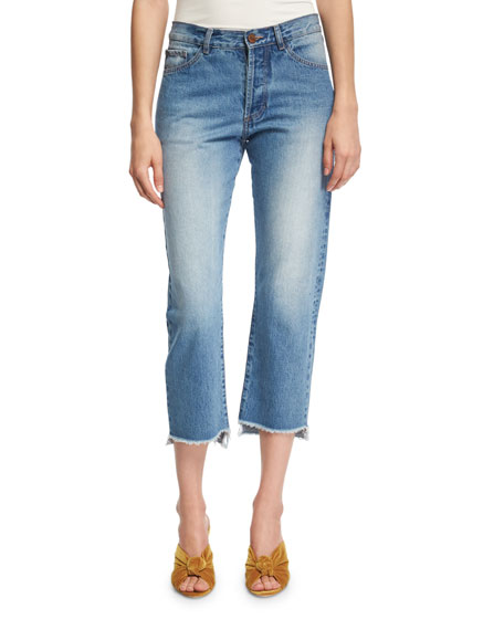 Johanna Ortiz Moravia Cropped Boyfriend Jeans with Staggered
