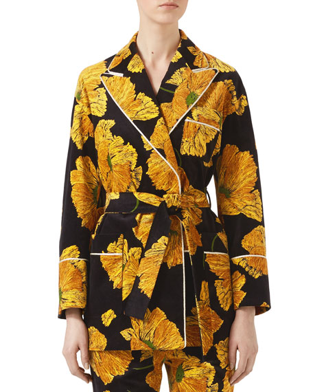 Gucci Poppy Print Velvet Jacket, Black/Yellow