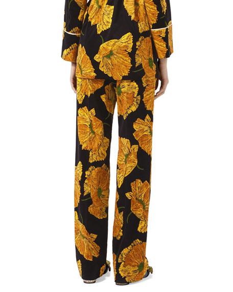 Poppy Print Velvet Pants, Black/Yellow