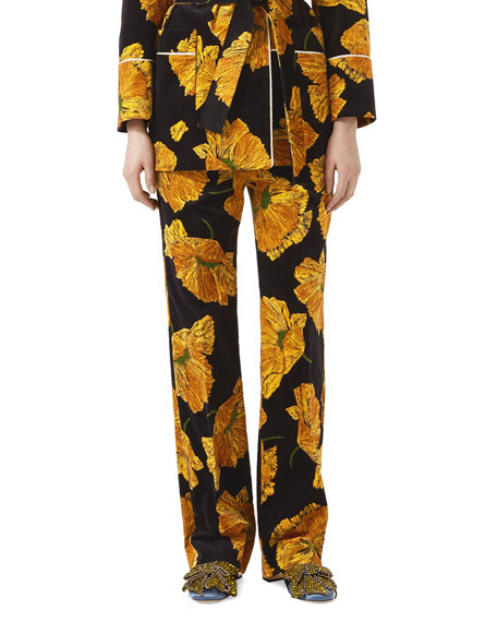 Gucci Poppy Print Velvet Pants, Black/Yellow
