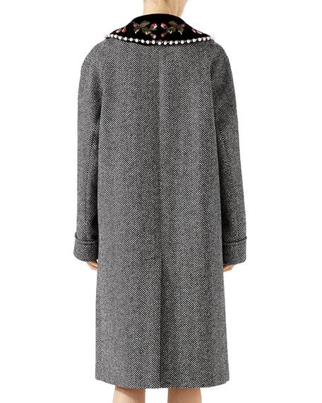 Herringbone Coat with Detachable Collar