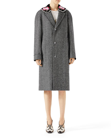 Herringbone Coat with Detachable Collar