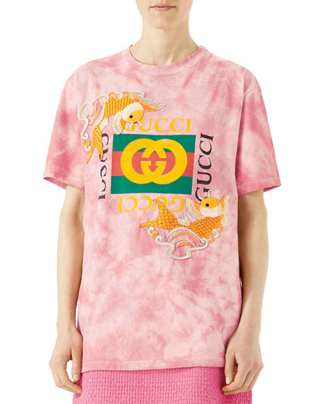 Gucci Fish Embroidered Cotton T-Shirt, Pink | Neiman Marcus