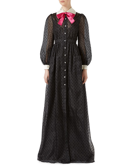 Sheer Polka Dot Gown With Contrast Collar And Bow, Black