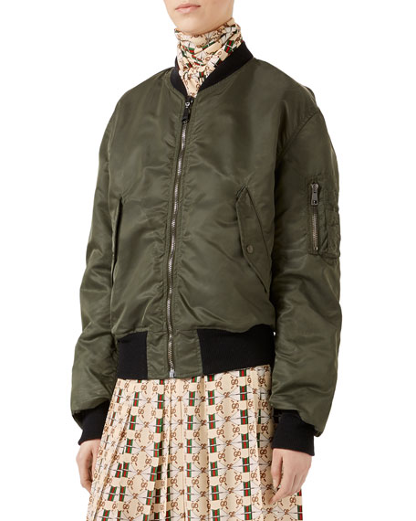 Embroidered Reversible Silk Bomber