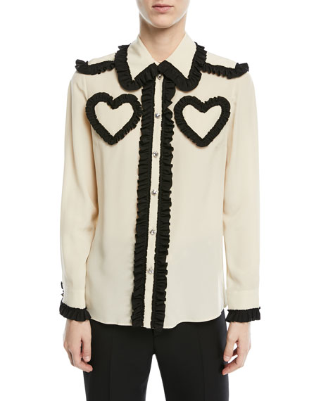 Silk Shirt with Ruffle Details, White/Black