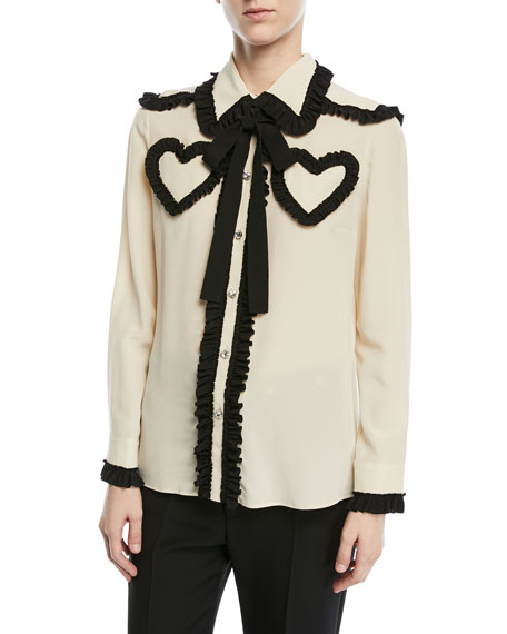 Gucci Silk Shirt with Ruffle Details, White/Black