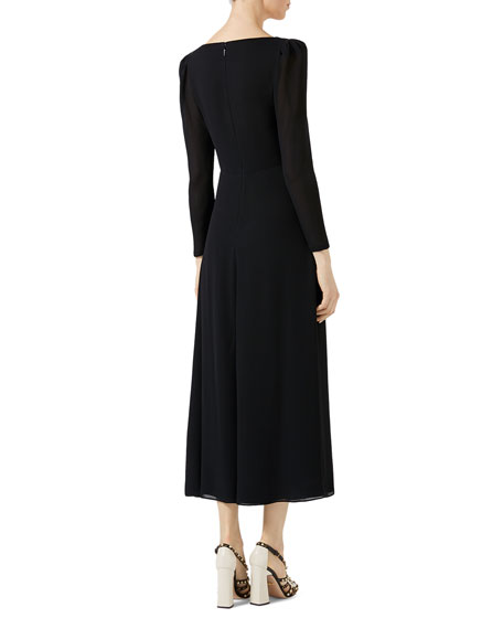 Embroidered Viscose Sable Dress, Black