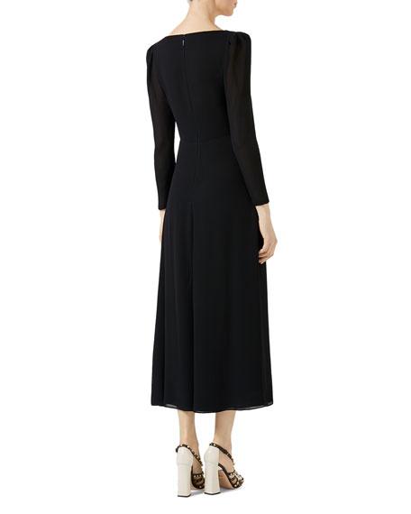 Embroidered Viscose Sablé Dress, Black