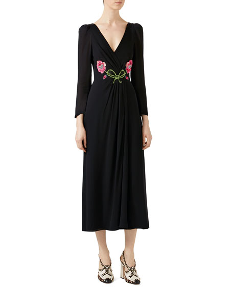 Gucci Embroidered Viscose Sablé Dress, Black