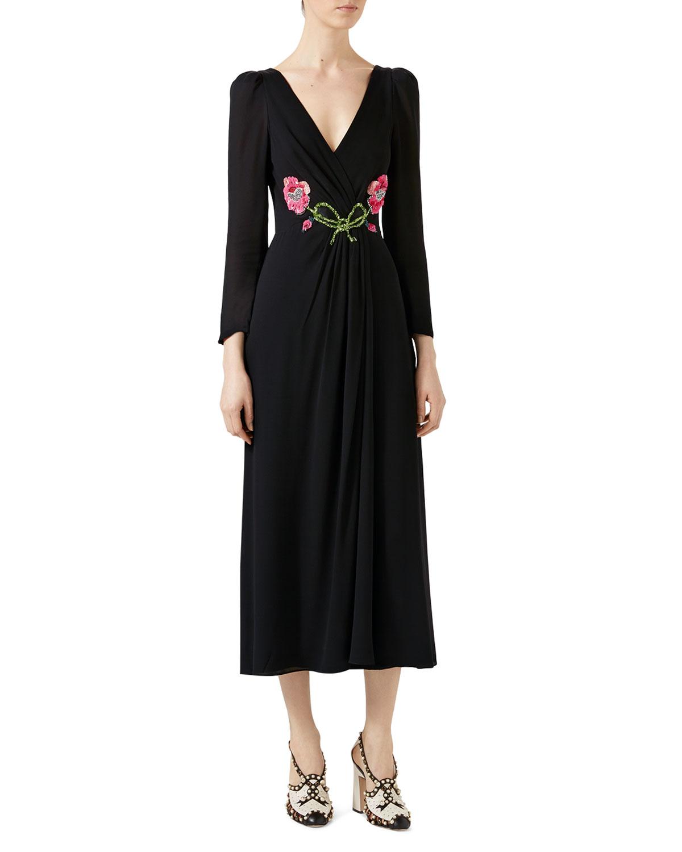 Embroidered Viscose Sable Dress Black