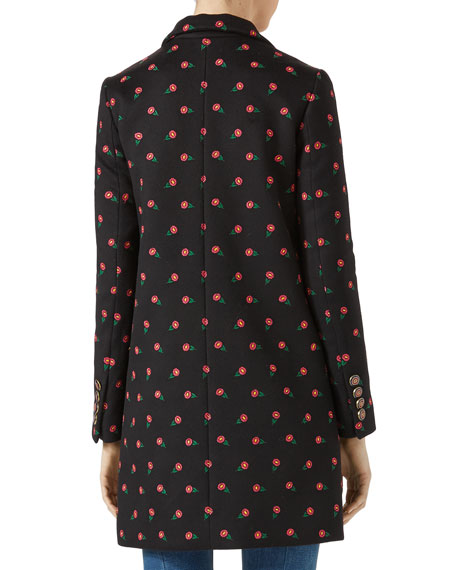 Floral Embroidered Wool Coat, Multicolor