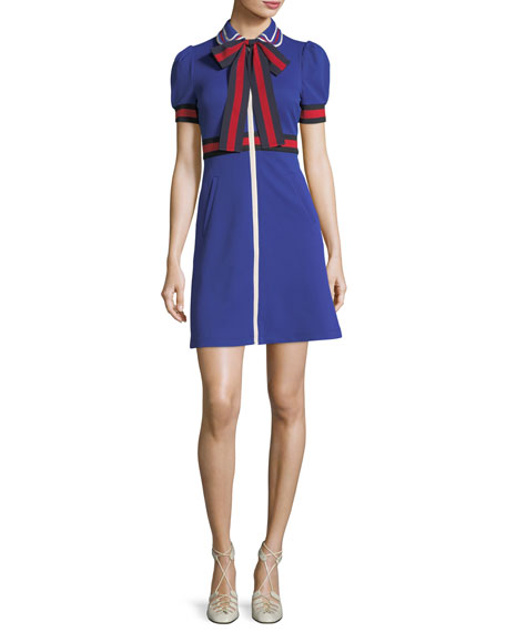 Gucci Jersey Gabardine Dress with Web & Bow