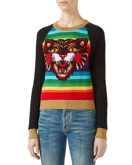 Gucci Angry Cat Jacquard Striped Knit Top, Rainbow