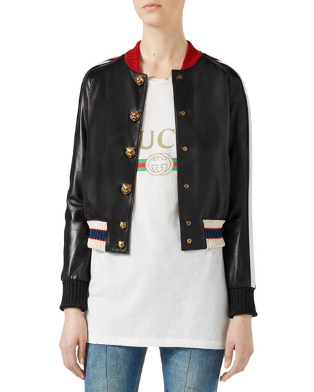 Gucci Embroidered Leather Bomber, Black