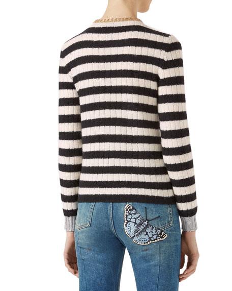 Embroidered Merino Cashmere Knit Top, Black/White