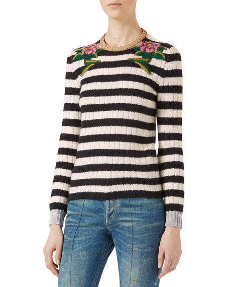 Gucci Embroidered Merino Cashmere Knit Top, Black/White