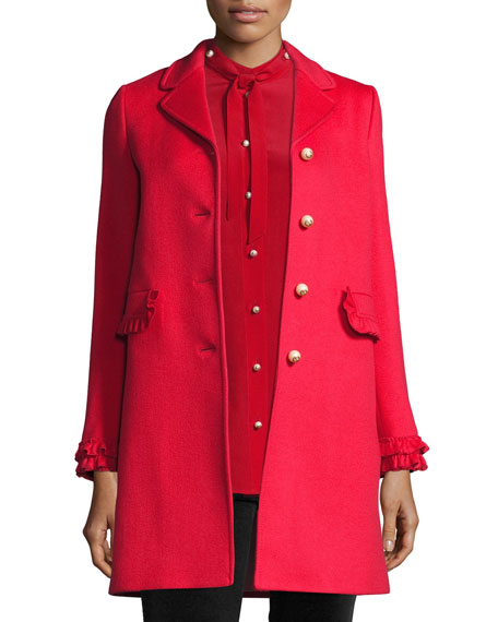 Single-Breasted Wool Coat, Red