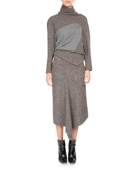 Galaxy Tweed Asymmetric Midi Skirt