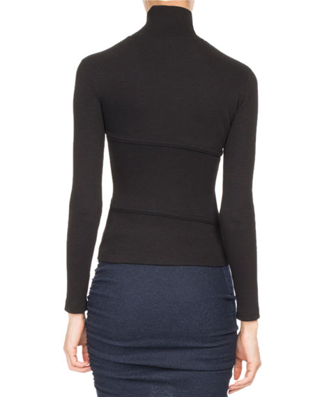 Asymmetric Button Mock-Neck Top