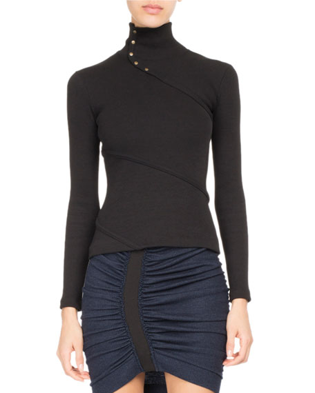 Atlein Asymmetric Button Mock-Neck Top