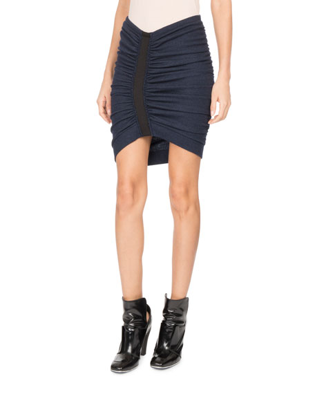 Atlein Ruched-Front Jersey Miniskirt