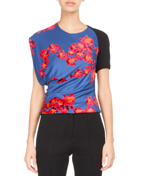 Atlein Floral Draped Jersey Top
