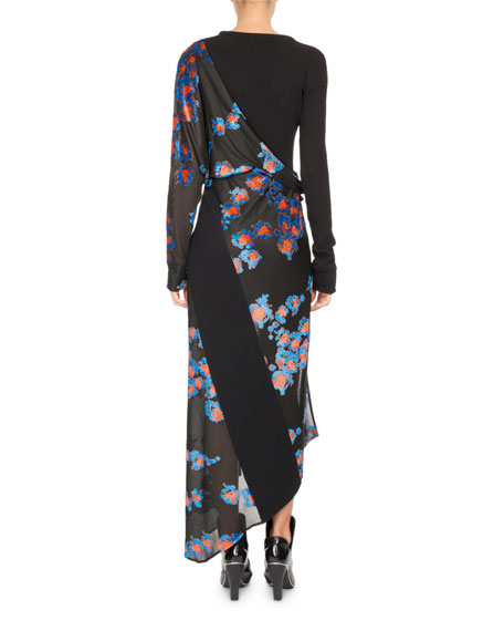 Floral Jacquard Draped Midi Dress